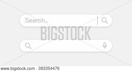 Search Bar Concept. Search Bar Graphic Design Element. Classic Search Window With Shadow On Light Gr