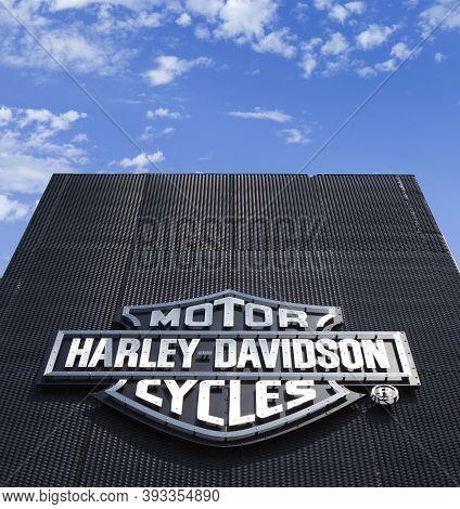 Poznan, Poland - May 17.2019: Harley Davidson Logo On The Metal Wall.motorcycle Dealership Or Motorc