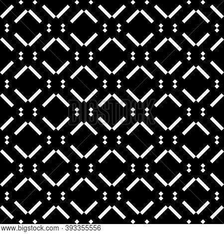 Seamless Pattern. Diagonal Lines, Diamonds Ornament. Striped, Dotted Backdrop. Slanted Dashes, Squar