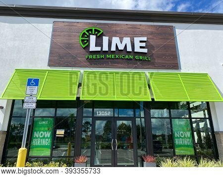Orlando,fl/usa-10/25/20: The Exterior Storefront Of A Lime Fresh Mexican Grill In  Orlando, Fl.