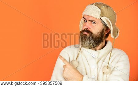 Barber Services. Bearded Man Wear Hat With Ear Flaps. Furry Accessory. Fur Garments. Bearded Hipster