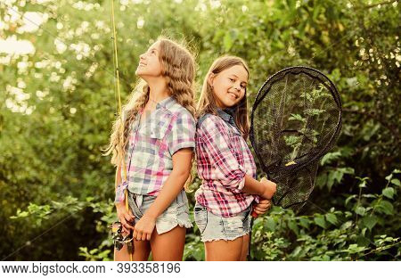 Ready For Fishing. Summer Hobby. Children With Net And Rod. Summer Holidays Weekend. Fly Fishing Tim