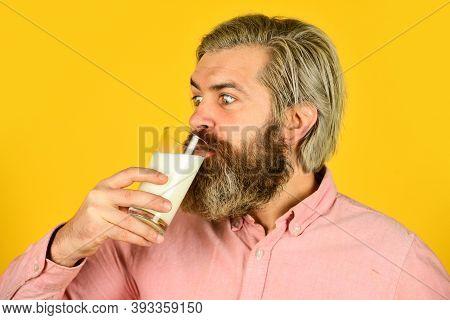 Farmer Present Milk Glass. Bearded Man Drink Useful Milk. Intestinal Health Concept. Useful And Vita