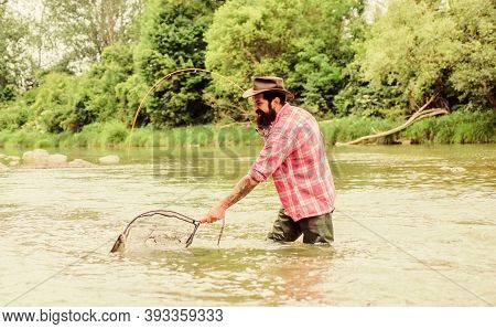 If Fish Regularly You Know How Rewarding And Soothing Fishing Is. Fishing Hobby. Bearded Brutal Fish