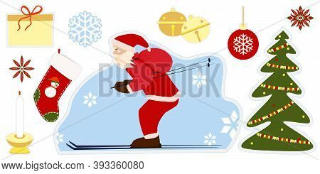 Cartoon Style Stickers For Merry Christmas. Merry Christmas And New Year Symbols For Advent Calendar