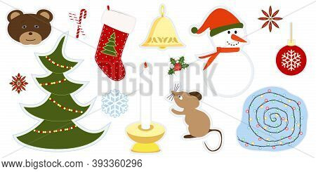 Set Of Cartoon Stickers For Merry Christmas. Advent Calendar Decoration, Gift Stickers. Clipart With