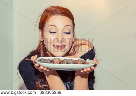 Beautiful Woman Holding Plate With Shrimps Craving To Eat Them Isolated White Grey Background. Posit