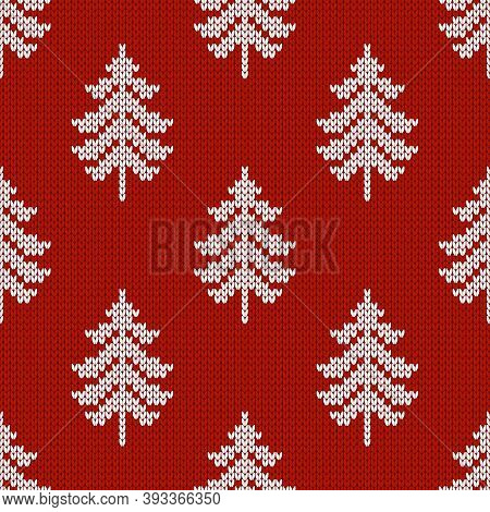 Winter Seamless Wool Texture. Vector Illustration With Christmas Trees.