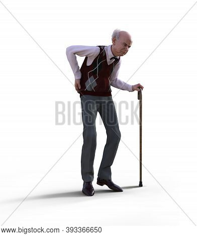 An Eccentric Senior Man With A Walking Cane Suffering From Back Pain, Isolated On White Background,