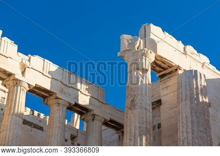 View Of The Upper Part Of The Doric Columns, Propylaea In Athens