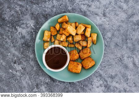 Plant-based Food, Vegan Curried Jackfruit Nuggets With Rosemary Potatoes And Mushroom Gravy