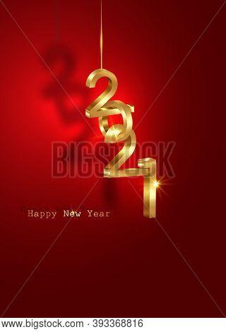 Golden 2021 New Year 3d Logo, Interlocking Numbers. Christmas Theme, Vector Illustration. Holiday De