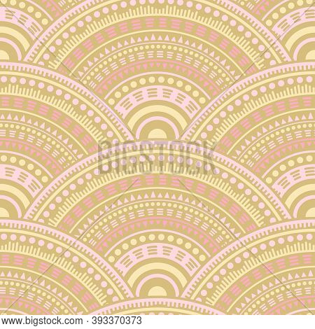 Indian Geometric Shapes Background Vector Seamless Pattern. Oriental Motifs Boho Repeating Scallops.