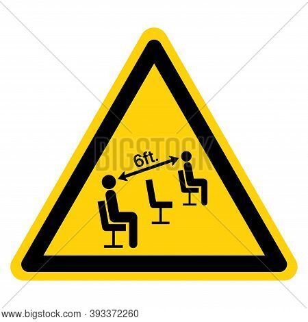 Warning Please Maintain Social Distancing Whil Seated Symbol, Vector  Illustration, Isolated On Whit
