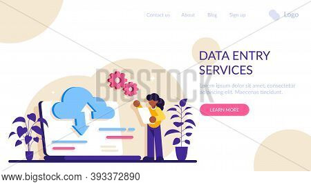 Data Entry Services Concept. Big Data, Cloud Technology. Large Amount Of Information Storage, Sharin