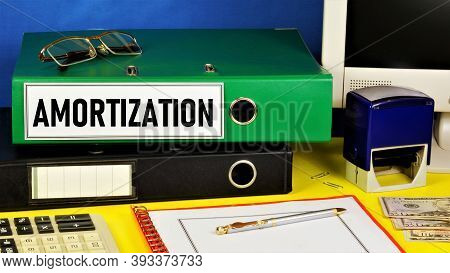 Amortization. Text Label On The Folder Office Of The Registrar.