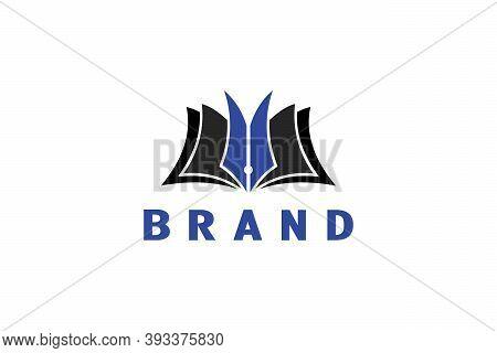 Pen Book Logo, Open Book With Pen Design Concept, Suitable For Education, Author, Or Publishing Logo