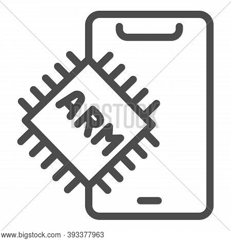 Processor And Smartphone Line Icon, Smartphone Review Concept, Processor Arm For Mobile Sign On Whit