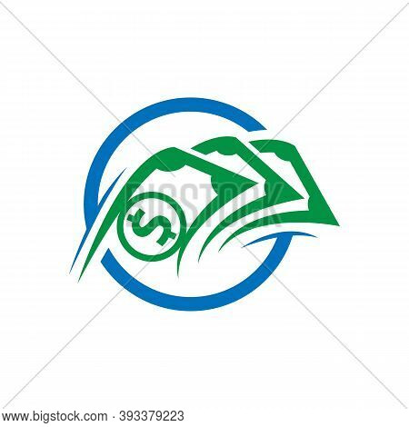 Icon Logo For Financial Management Business With Dollar Currency Details