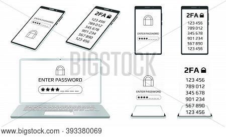 Set Of Concept Of 2fa Two-factor Authentication And Enter Password Concept On Laptop And Smartphone