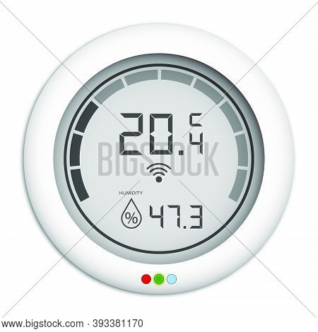 Wall Mounted Digital Controller With Hygrometer, Regulator For Remote Control Of Climate In House. P