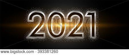 Modern Shiny Embossed 2021 On Black Background Vector Design