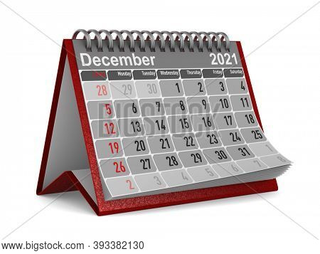 2021 year. Calendar for December. Isolated 3D illustration