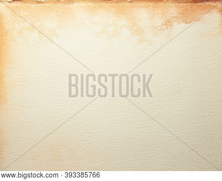 Texture Of Old Beige Paper With Coffee Spot, Crumpled Background. Vintage Sand Grunge Surface Backdr
