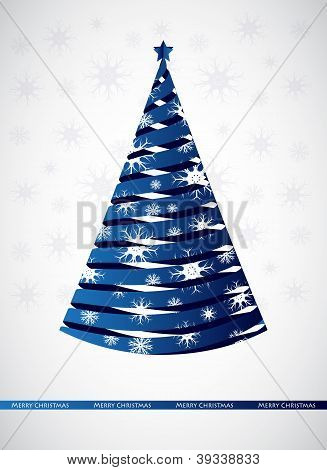 Stylized Blue Ribbon Christmas Tree