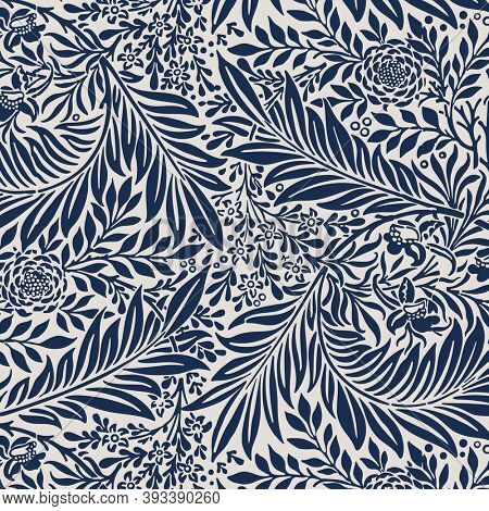 Vintage blue leaves ornament pattern background