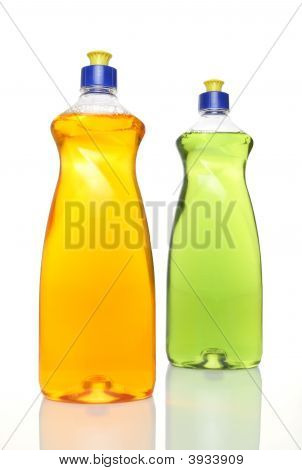 Two Colourful Bottles Of Dishwashing Liquid