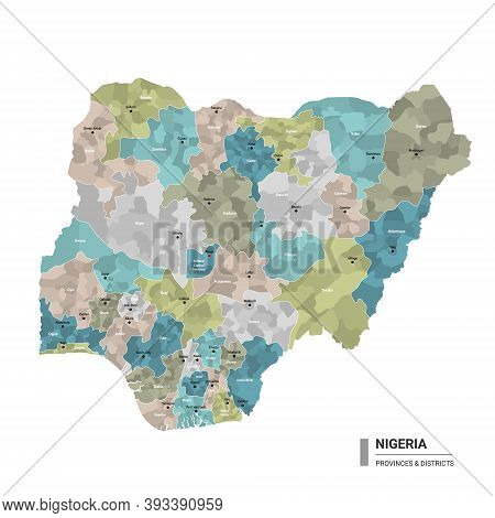 Nigeria Higt Detailed Map With Subdivisions. Administrative Map Of Nigeria With Districts And Cities
