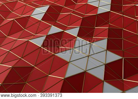 3d Triangular Lowpoly Background With Golden Mesh. Christmas Background