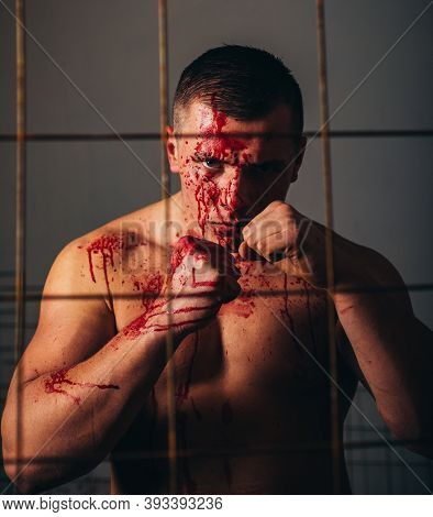 Psychic Disease. Murderer Brutal Aggressive Guy. Fight And Attack. Aggressive Person. Strong Aggress