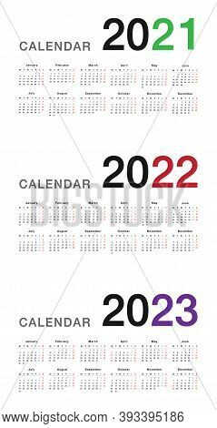 Year 2021 And Year 2022 And Year 2023 Calendar Vector Design Template, Simple And Clean Design. Cale