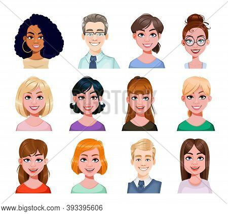 Smiling Business People Avatar In Flat Style. Male And Female Cartoon Avatars. Stock Vector Illustra