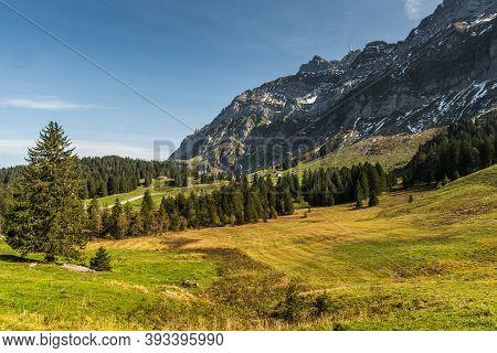 Alpine Pastures On The Schwaegalp With Saentis Massif, Canton St. Gallen, Switzerland