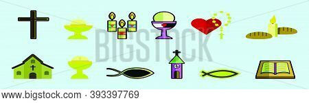Set Of Eucharist Cartoon Icon Design Template With Various Model. Modern Vector Illustration Isolate