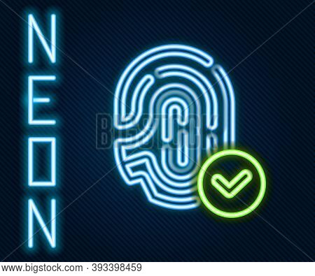 Glowing Neon Line Fingerprint With Check Mark Icon Isolated On Black Background. Id App Icon. Identi