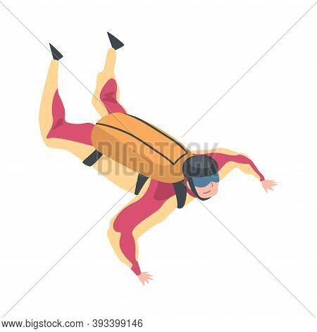 Skydiver Doing Base Jump With Parachute In Sky, Skydiving Parachuting Extreme Sport Cartoon Style Ve