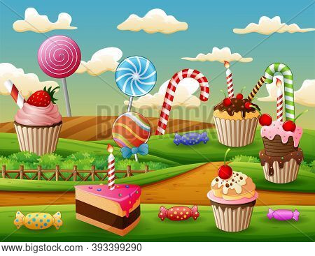 Fantasy Sweet Land With Cup Cake And Candies