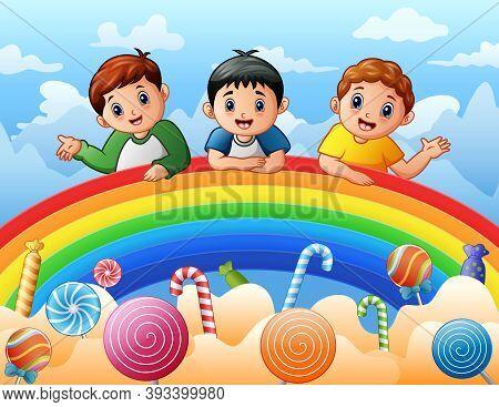 Cartoon Of Three Boys On A Rainbow Illustration