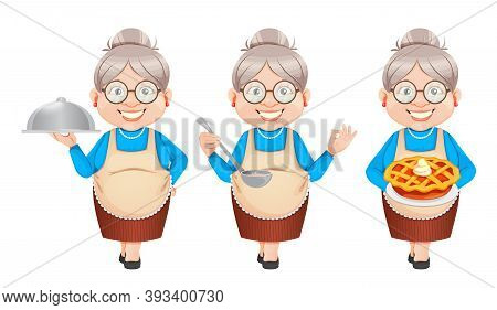 Grandma Cartoon Character Preparing Food, Set Of Three Poses. 8 March, Happy Grandparents Day. Old C