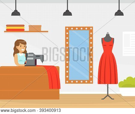 Seamstress Sewing Fashionable Clothes, Dressmaker Creating New Dress On Sewing Machine Cartoon Style