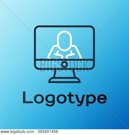 Line Online Psychological Counseling Distance Icon Isolated On Blue Background. Psychotherapy, Psych