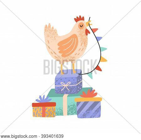 Celebratory Rooster Standing On Pile Of Gift Boxes And Holding Flag Garland Beak. Cute Cockerel Or H