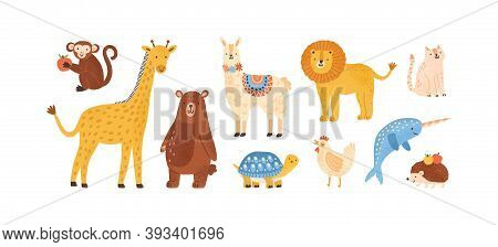 Set Of Funny Childish Scandinavian Zoo Animals Isolated On White. Collection Of Cute Domestic, Wild,