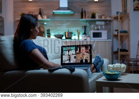 Woman Streaming Online Webinar Training At Night From Home. Remote Worker Having Online Meeting, Vid