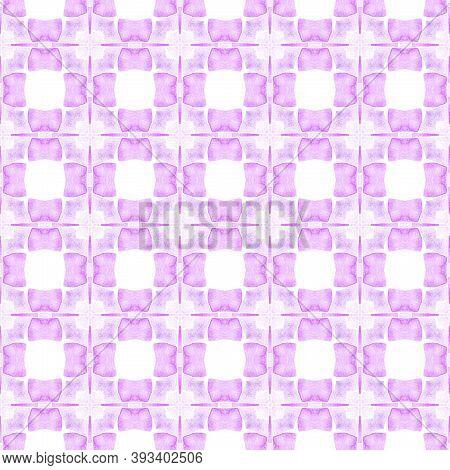 Ikat Repeating  Swimwear Design. Purple Trending Boho Chic Summer Design. Textile Ready Incredible P