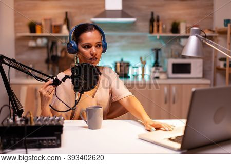 Famous Blogger Streaming From Home Studio Using Professional Recording Gear. On-air Online Productio